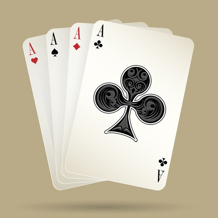 Four aces playing cards suit, winning poker hand
