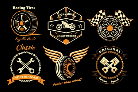 tire shop: Set of racing badge Illustration