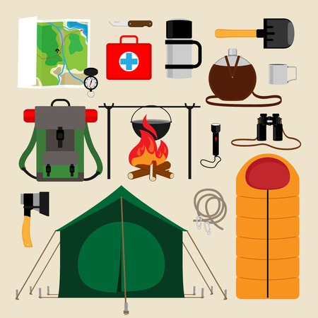 first aid kit: Camping equipment icons Illustration
