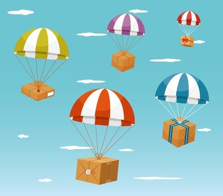 Concept de livraison - Coffrets cadeaux sur Parachute Banque d'images - 34767167