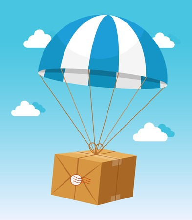 airborne: Blue and White Parachute Holding Delivery Box