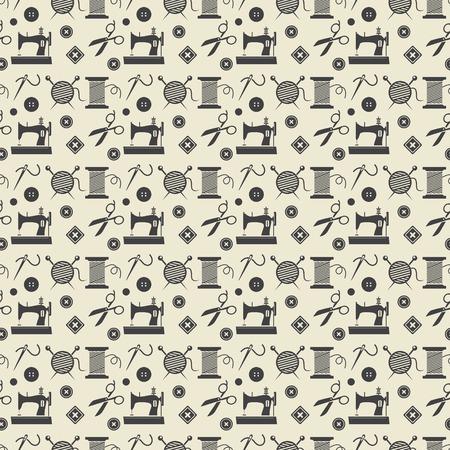 stitching machine: Sewing and needlework background Illustration