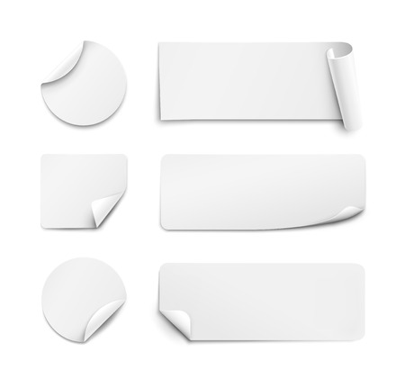 wrapped corner: White paper stickers on white background