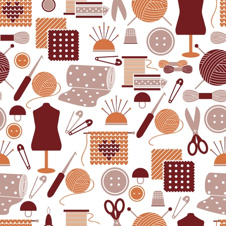hank: Sewing icons seamless pattern