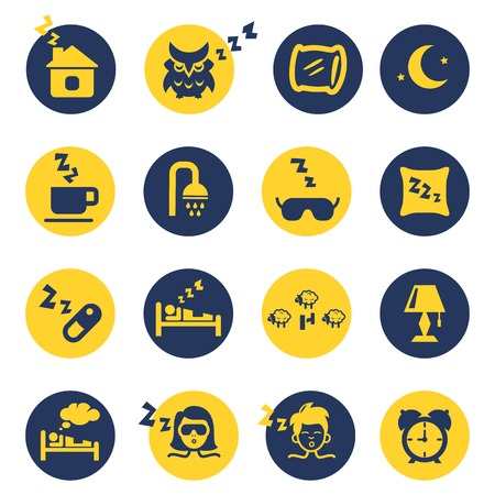 woman lying in bed: Sleep and insomnia icons Illustration
