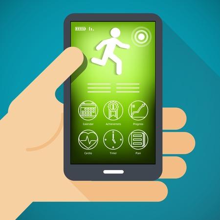 symbol sport: Handy mit Fitness App in der Hand Illustration