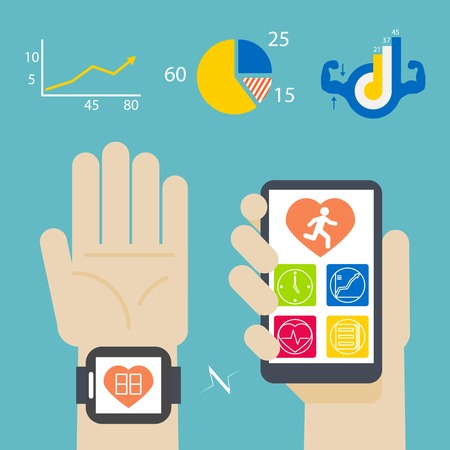 sports app: Health book on smartwatch and smartphone