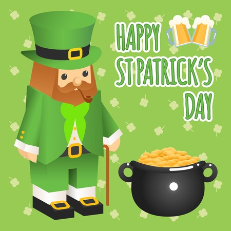 feast of saint patrick: St. patricks day. Leprechaun in 3d flat style with pot of gold
