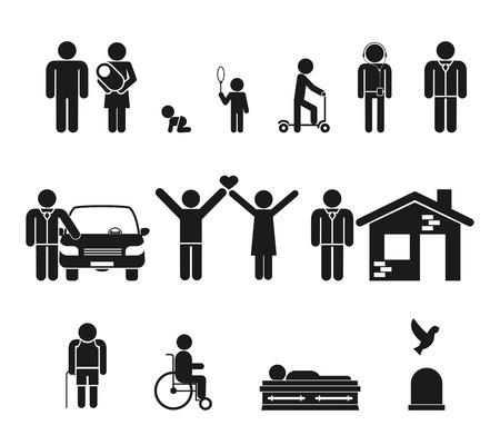 leven en dood: Stadium leven. Geboorte en adolescentie, jeugd, volwassenheid, ouderdom, overlijden