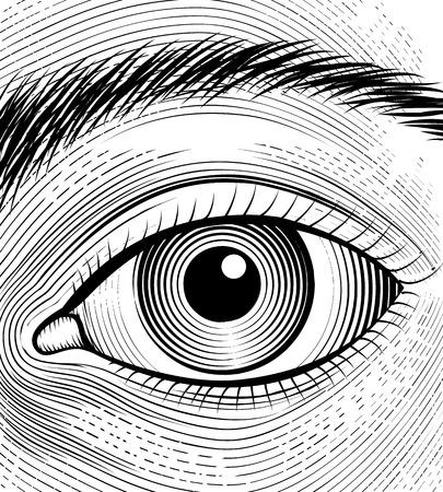 Engraving human eye