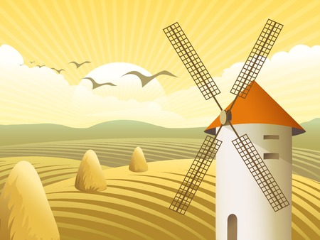 cultivated land: Vector rural landscape