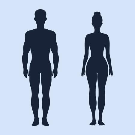 corps femme nue: Homme et femme debout silhouettes vecteur