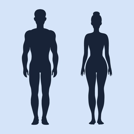 nude man: Man and woman standing vector silhouettes