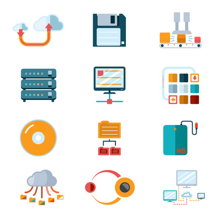 database: Flat data icons. Colorful symbols, database processing, broadcast information. Vector illustration