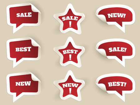special price: Red Labels. New, best and sale. Set of stickers by consumerism. Vector illustration