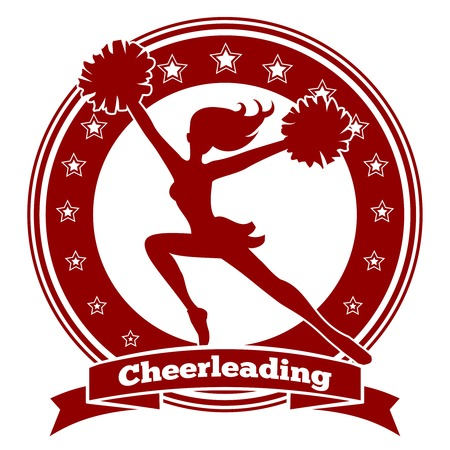 cheer leading: Cheerleader badge or cheer logo. Red silhouette of a girl flying straightened arms. Vector illustration