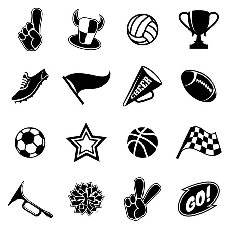 Sports icons and fans equipment. Black silhouettes on white background. Vector illustration