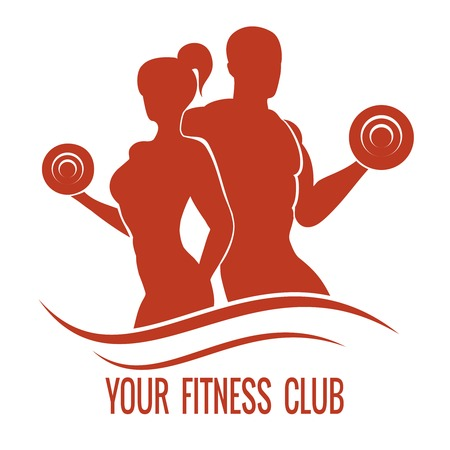 Fitness logo with muscled man and woman silhouettes. Man and woman holds dumbbells. Vector illustration Illustration