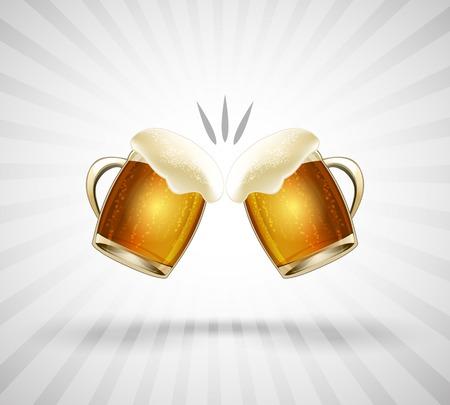 saúde: Ícone aplausos. Dois copos cheios até a borda com espuma da cerveja. Ilustração do vetor
