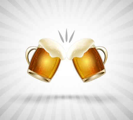 cheers: Cheers icon. Two glasses filled to the brim with beer foam. Vector illustration
