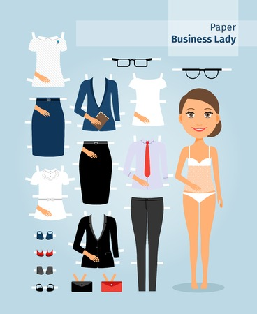 didactic: Business lady paper doll. Cute girl in office clothes. Set the doll business clothing for cutting. Vector illustration Illustration