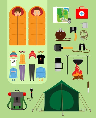scouts: Boy and girl in sleeping bags next to tent with campfire and backpack. Facilities for tourism, recreation, survival in the wild. Vector illustration