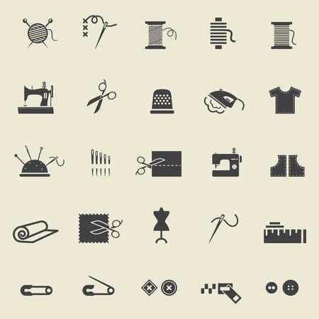 bordados: El equipamento de costura y costura. Iconos negros para la costura, tejido, costura, patrón. Pequeño dispositivo. Ilustración vectorial