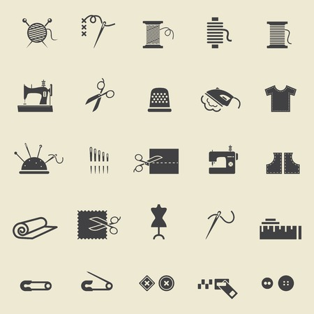 needlework: Sewing equipment and needlework. Black icons for sewing, knitting, needlework, pattern. Small device. Vector illustration Illustration