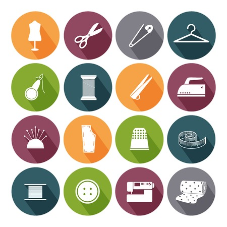 stitching machine: Tailor icons isolated in color circles on the white background. Vector illustration