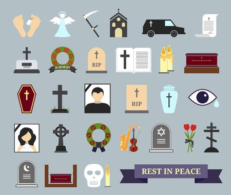 Śmierć, rytuał i pochówku kolorowe ikony. Elementy sieci Web na temat śmierci, w ceremonii pogrzebowej. Ilustracji wektorowych Ilustracje wektorowe
