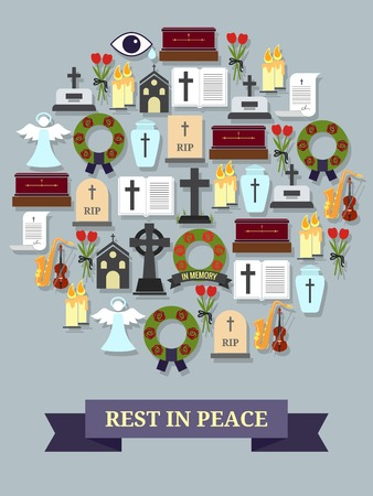 Rest in peace sign. Round symbol consisting of the elements on the theme of the funeral and burial ceremony. Vector illustration Vector