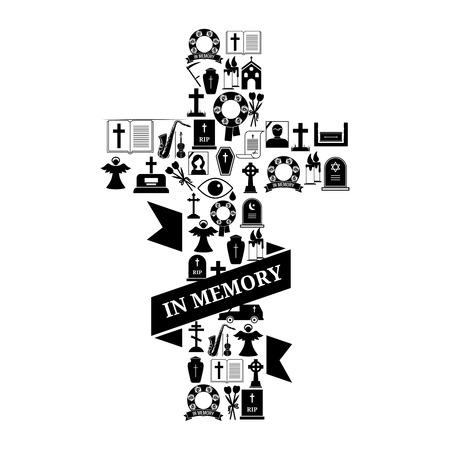 memorial cross: En memoria Concepto - Negro y Funerales Cruz Blanca Icon Diseño gráfico con el texto en el fondo blanco. Vectores