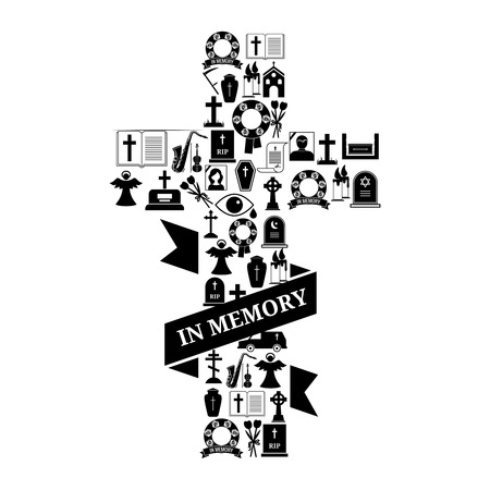 funeral background: In Memory Concept - Black and White Funeral Cross Icon Graphic Design with Text on White Background. Illustration