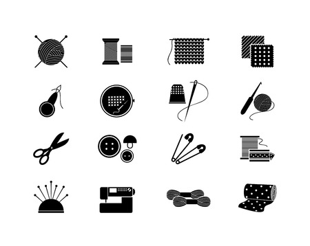 Set of needlework icons. Black silhouette for sewing, knitting, needlework, pattern. Vector illustration