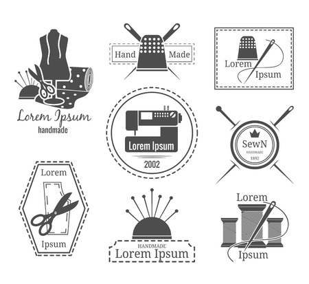 machines: Vintage tailor logo or badges. Set of logos on the theme of sewing and crafts. Vector illustration