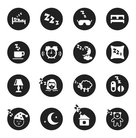 mujer acostada en cama: Conjunto de iconos redondos negros con siluetas blancas sobre los sue�os dulces y la hora de dormir. Ilustraci�n vectorial