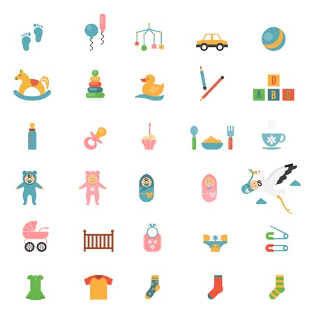 newborn footprint: Babies toys icons on a theme of infants and their accessories. Vector illustration