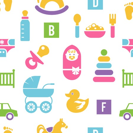 bib: Newborn and toys background. Colorful silhouettes of children accessories on a white background. Vector illustration