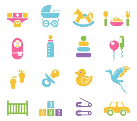 Simple Colored Children Toys and Accessories Icon Graphic Design on White Background.
