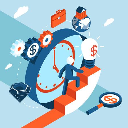 financial success: Business-Mann steigt die Treppe zum finanziellen Erfolg. Business-Konzept, Ziele und zum Erfolg Vektor-Illustration
