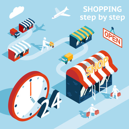 emphasizing: Cartooned Shopping Concept Graphic Design  Emphasizing Shopping Stores  People and 24 Hours Open. Illustration