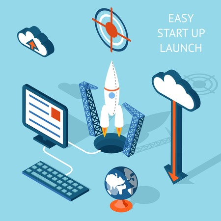 clouding: Colored Cartooned Easy Start-up Launch Infographic Design  Emphasizing Rocket and Technology.