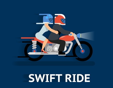 Cartooned Swift Ride Concept Graphic Design  Emphasizing Couple Riding on a Motorcycle with Helmet on Blue Background.