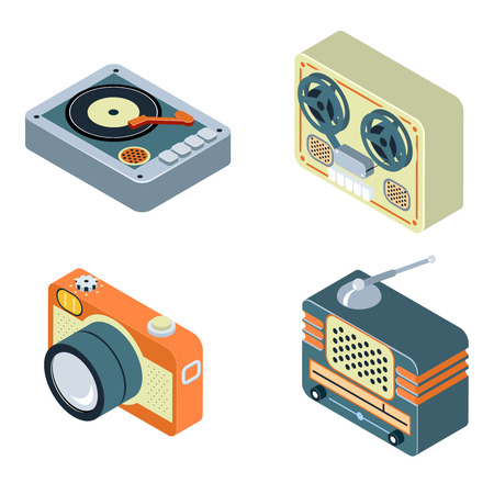 Retro Media. Radio, reel tape recorder and turntable. Old equipment for audio and photo. Vector illustration