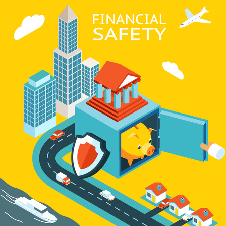 financial protection: Financial safety and money making. Open safe with piggy bank pig. Skyscraper, homes. The concept of capital protection. Vector illustration Illustration