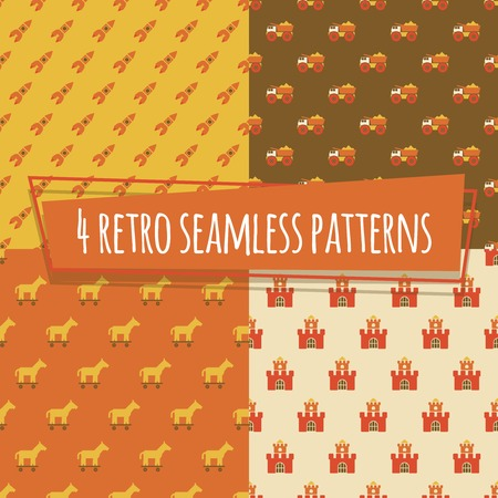 Kids retro seamless patterns with rockets and car, horse and strength. Vector illustration Vector