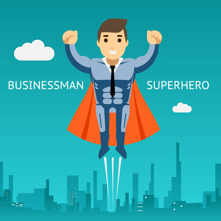Cartooned Superhero Businessman Graphic Design on Blue Green Background with Silhouette Buildings.