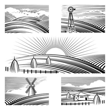 lea: Retro rural landscapes. Set in rural landscapes painted black lines. Vector illustration