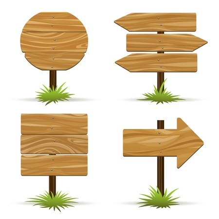 multidirectional: Vector wooden signs. Wooden plaques and pointers for information and advertising Illustration