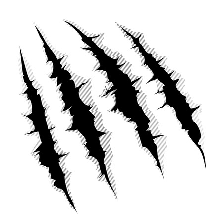 An illustration of a monster claw or hand scratch or rip through white background Vectores